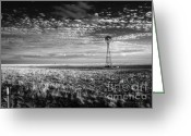 October Greeting Cards - Texas Plains Windmill Greeting Card by Fred Lassmann