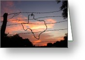 Barbed Wire Greeting Cards - Texas Sunset Greeting Card by Robert Anschutz