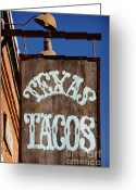 Brunch Greeting Cards - Texas Tacos Greeting Card by Charles Dobbs