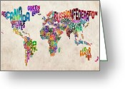 Watercolour Greeting Cards - Text Map of the World Greeting Card by Michael Tompsett