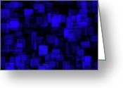 Blue Blocks Greeting Cards - Textured Abstract Blue Blocks Greeting Card by Andee Photography