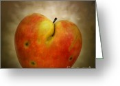 Nourishment Greeting Cards - Textured Apple Greeting Card by Bernard Jaubert