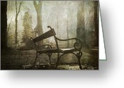 Empty Park Bench Greeting Cards - Textured bench Greeting Card by Bernard Jaubert