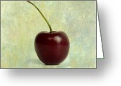 Cherries Greeting Cards - Textured cherry. Greeting Card by Bernard Jaubert