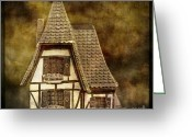 Pointed Greeting Cards - Textured house Greeting Card by Bernard Jaubert