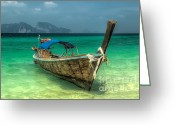 Wooden Greeting Cards - Thai Boat  Greeting Card by Adrian Evans