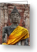 Golden Digital Art Greeting Cards - Thai Buddha Greeting Card by Adrian Evans