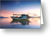 Featured Greeting Cards - Thai fishing boat Greeting Card by Teerapat Pattanasoponpong