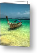Wooden Greeting Cards - Thai Longboat  Greeting Card by Adrian Evans