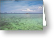 Rowboat Greeting Cards - Thai Nok, Thailand Greeting Card by Photo by Jim Boud
