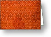 Abstract Art Tapestries - Textiles Greeting Cards - Thai patterns. Greeting Card by Chatchawin Jampapha