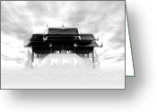Black And White Greeting Cards - Thai Pavilion in Sky-bk Greeting Card by Eakaluk Pataratrivijit