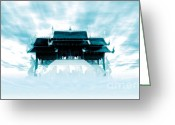 Sky Mixed Media Greeting Cards - Thai Pavilion in Sky Greeting Card by Eakaluk Pataratrivijit