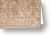 Antique Reliefs Greeting Cards - Thai style handcraft of elephant Greeting Card by Phalakon Jaisangat