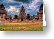 Temple Digital Art Greeting Cards - Thai Temple Greeting Card by Adrian Evans