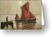 Eric Bellis Greeting Cards - Thames Barge and Guillemots Greeting Card by Eric Bellis