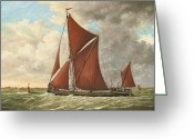 Eric Bellis Greeting Cards - Thames Barge at the Mouth of the Estuary Greeting Card by Eric Bellis
