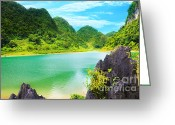 Hen Greeting Cards - Thang Hen lake Greeting Card by MotHaiBaPhoto Prints