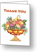 Apricot Painting Greeting Cards - Thank You Card Fruit Vase Greeting Card by Irina Sztukowski