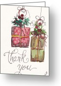 Holiday Notecard Greeting Cards - Thank You Ornaments Greeting Card by Michele Hollister - for Nancy Asbell