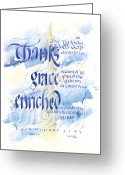 Bible Greeting Cards - Thanks Grace   Greeting Card by Judy Dodds