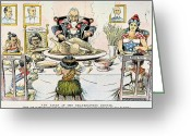 Hawaiian Food Greeting Cards - Thanksgiving Cartoon, 1898 Greeting Card by Granger