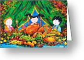 Most Painting Greeting Cards - Thanksgiving Day Greeting Card by Zaira Dzhaubaeva
