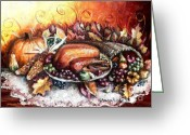 Family Time Greeting Cards - Thanksgiving Dinner Greeting Card by Shana Rowe