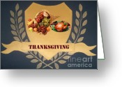 Ornaments Painting Greeting Cards - Thanksgiving Greeting Card by Georgeta  Blanaru