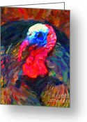 Thanksgiving Art Greeting Cards - Thanksgiving Turkey Greeting Card by Wingsdomain Art and Photography