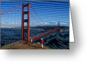 Sausalito Greeting Cards - That Crazy Bridge Greeting Card by Carl Purcell