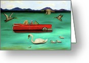 Elderly Painting Greeting Cards - That Damn GPS Greeting Card by Leah Saulnier The Painting Maniac