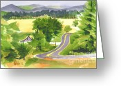 Water Colours Greeting Cards - That Ribbon of Highway out JJ Greeting Card by Kip DeVore