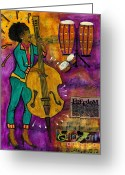 Survivor Mixed Media Greeting Cards - That Sistah on the Bass Greeting Card by Angela L Walker