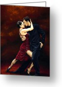 Woman Painting Greeting Cards - That Tango Moment Greeting Card by Richard Young