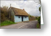 Galway Greeting Cards - Thatch roof cottage Galway Greeting Card by Pierre Leclerc