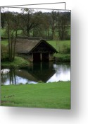 National Treasure Greeting Cards - Thatched Boat House Greeting Card by Robert  Torkomian