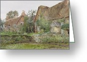 English Garden And House Greeting Cards - Thatched Cottages and Cottage Gardens Greeting Card by John Fulleylove