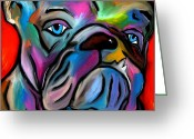 Figures Mixed Media Greeting Cards - Thats Bull - Abstract Dog Pop Art by Fidostudio Greeting Card by Tom Fedro - Fidostudio