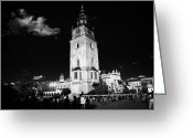 Old Krakow Greeting Cards - The 13th century  Gothic town hall tower with tourists in rynek glowny town square krakow Greeting Card by Joe Fox