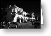 Old Krakow Greeting Cards - The 16th century Cloth Hall Sukiennice building with tourists in rynek glowny town square krakow Greeting Card by Joe Fox