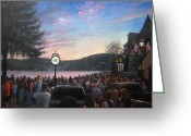 Fireworks Painting Greeting Cards - the 4th of July on Lake Mohawk Greeting Card by Tim Maher