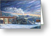 Roundhouse Greeting Cards - The 501 in Winter Greeting Card by Gary Symington