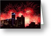 4th July Greeting Cards - The 54th Annual Target Fireworks in Detroit Michigan - Version 2 Greeting Card by Gordon Dean II