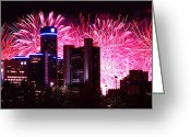 4th July Digital Art Greeting Cards - The 54th Annual Target Fireworks in Detroit Michigan Greeting Card by Gordon Dean II