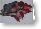 Red White And Blue Greeting Cards - The 9 11 Wtc Fallen Heros American Flag Greeting Card by Rob Hans