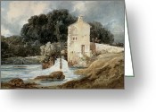 Mill Stone Greeting Cards - The Abbey Mill - Knaresborough Greeting Card by Thomas Girtin