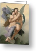 Angel Painting Greeting Cards - The Abduction of Psyche Greeting Card by William-Adolphe Bouguereau