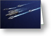 Frigate Greeting Cards - The Abraham Lincoln Carrier Strike Greeting Card by Stocktrek Images