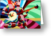 Banjo Greeting Cards - The Abstract Futurist Cowboy Banjo Player Greeting Card by Mark Webster